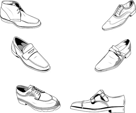 walking shoes: Vector illustration of classic men shoes, good for fashion and other type of designs. Vectors are on separate layers and color can be easily modified.