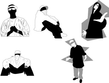 compatible: 5 des poses de gangsta rap et des attitudes. Id�al pour la conception orient�e rue Vector illustration dans un format compatible illustrator 8.  Illustration