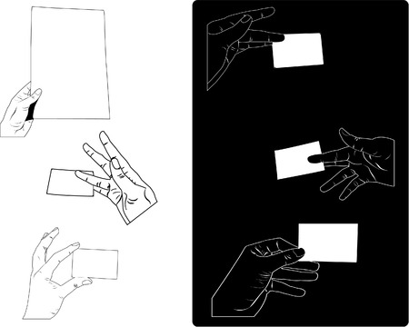 White and black hands olding paper sheet and business card. Vector in illustrator 8.