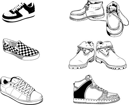 workwear: 6 vector illustration of men shoes for the everyday life in the street. Good for all type of fashion design for example. Illustrator 8 .