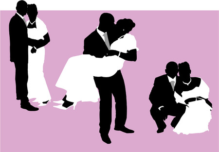 Illustration of a couple just married. Illustrator eps8. Vector