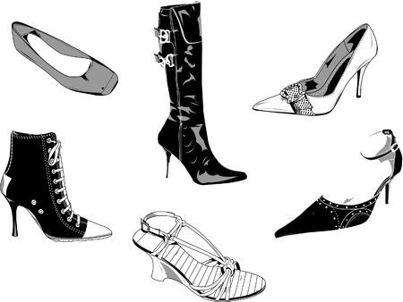 ファッションとデザインの他のタイプの良いベクトル古典的な女性靴の