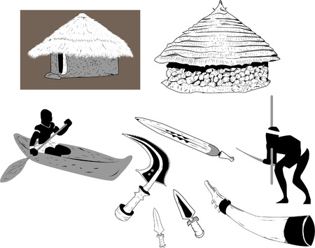 traditional weapon: Shacks and objects used in the old africa