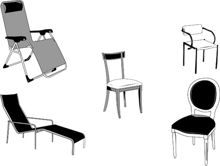 Set of old and new type of chairs, long and short.