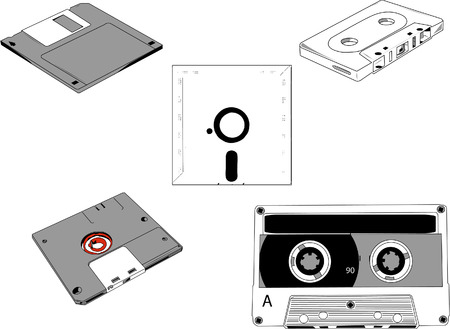 Set of old cassettes and floppy disks 5.1 Vector