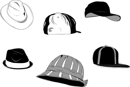 Set of several type of hats for men, new and old. Illustration