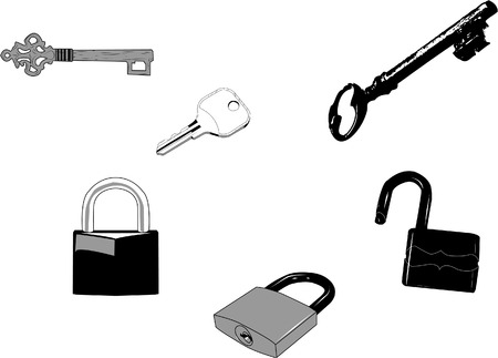 Set of old and new keys and locks.Can be used for any designs. Vector
