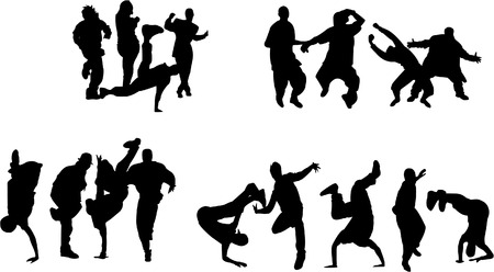 Silhouette of boys and girls dancing on different hip hop style: Krump, Break dance, Old school etc. Illustration