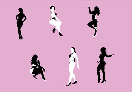 prostitue: Silhouetten van zwarte en witte vrouwen poseren met sexy curves