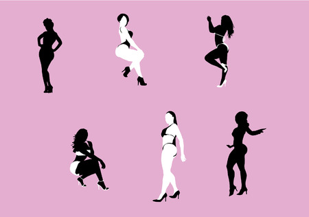 Silhouettes of black and white women posing with curves
