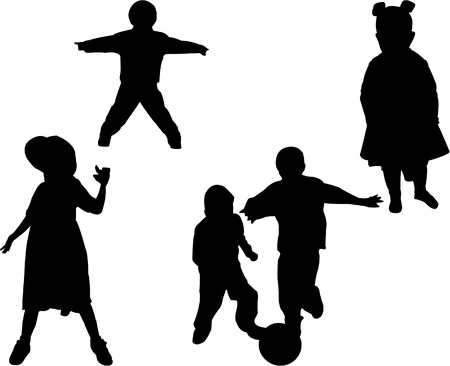 Vector silhouettes of boys playing soccer and girls posing. Vector