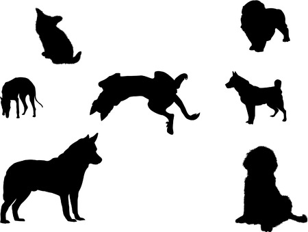 Vector silhouettes of several dogs. file in Illustrator v8