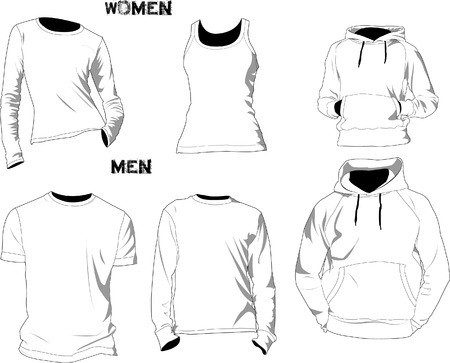 long sleeves: T-shirt template or mockup for design purpose in vector format. Colors can be easily modified, shadows can be hidden, each t-shirt on a separate layer with a sublayer where you can place your own design.