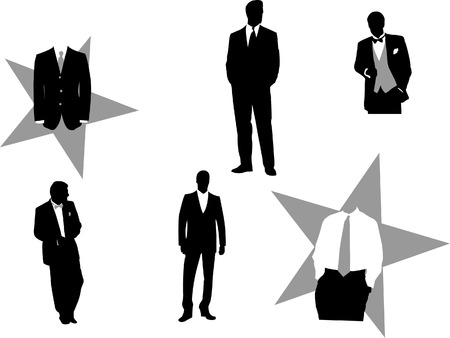 Vector illustration of fictious business men in tuxedos, good for design business or corporate oriented.