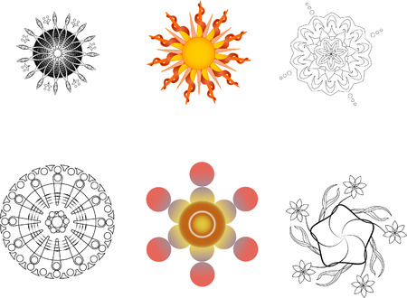 Vector set of six mandala illustrated in colors and black and white. Each on separate layers. Radial gradients used.