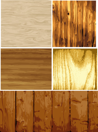 Vector set of several wood textures, each on separate layers.