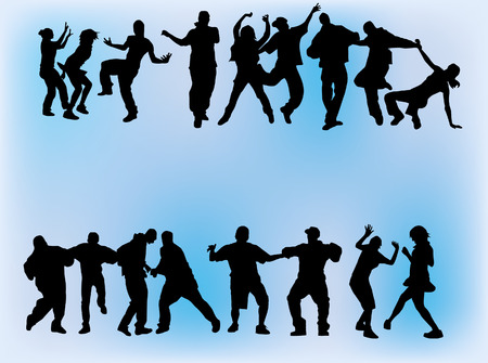 Silhouette of boys and girls dancing on different hip hop style: Krump, Clowning, Break dance, Old school, C-Walk etc. Vector