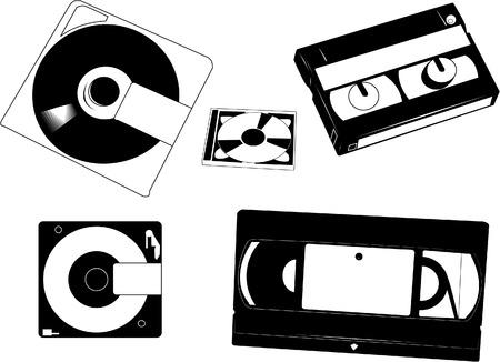 Conjunto de viejas cintas VHS, Minidisks y cintas de 8 mm camecorder.