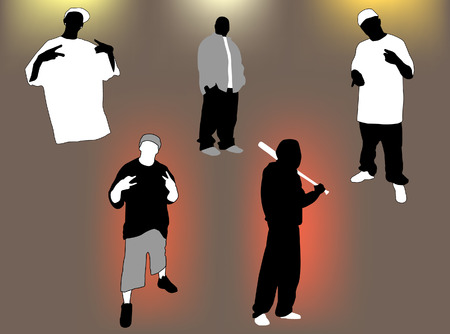 Set of gangsta 5 poses and attitudes. Ideal for street andor hip hop oriented design, files in format compatible illustrator 8. Vector
