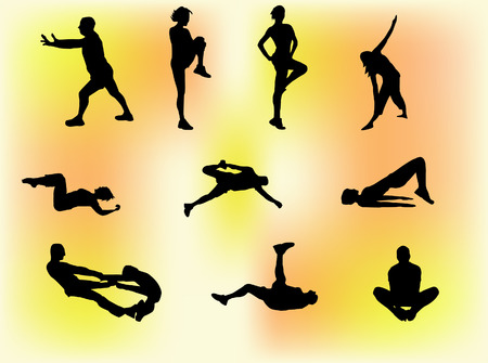 aerobics class: Set of 10 silhouettes of people doing gym exercises, stretching etc.