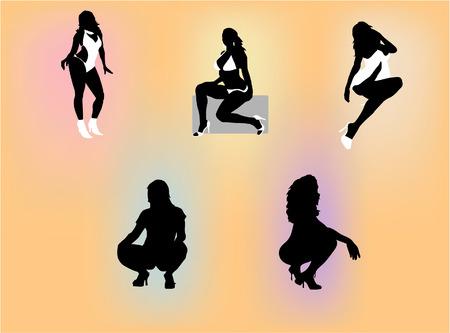 esplicito: Sagome di diverse donne sexy in posa con le espressioni esplicite.