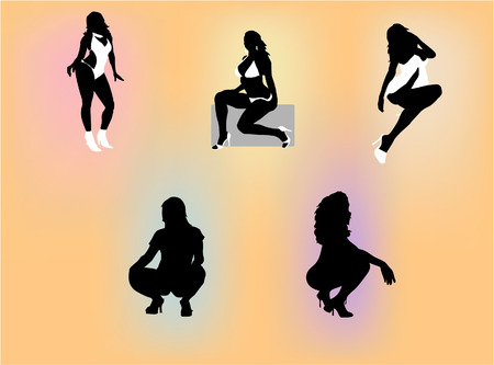 Silhouettes of several sexy women posing with explicit expressions. Vector