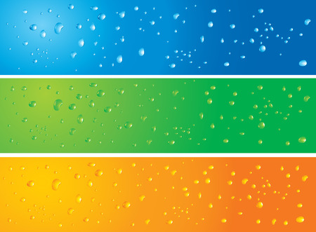 Vector illustration of 3 banners with water drops in different colors with slight modifications on each banners. Radial and Linear gradients used.