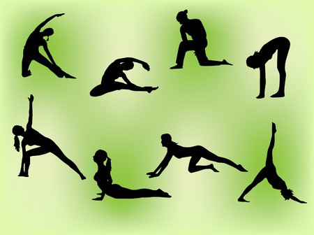 Vector silhouettes of several women doing stretching exercises. Vector