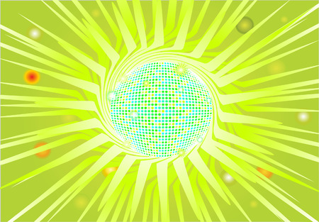 Flashy disco ball on a green theme. Vector Eps8 file, radial gradient used. The ball can be easily separated from the background. Illustration