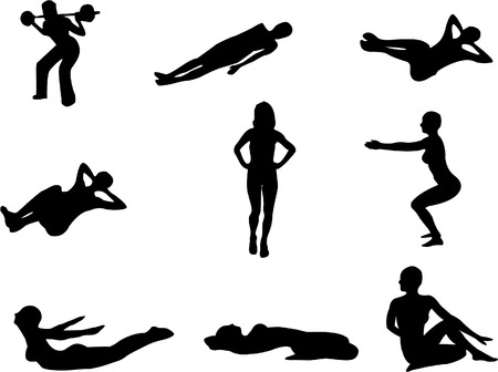 Set of 9 silhouettes of people doing gym exercises, stretching etc. Vector
