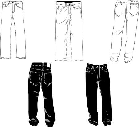 Pantalones plantilla / maqueta de diseños en formato vectorial. Los colores son fácil de modificar, se pueden ocultar las sombras, cada uno de los pantalones en una capa con un sublayer donde usted puede colocar su propio diseño. Ilustración de vector