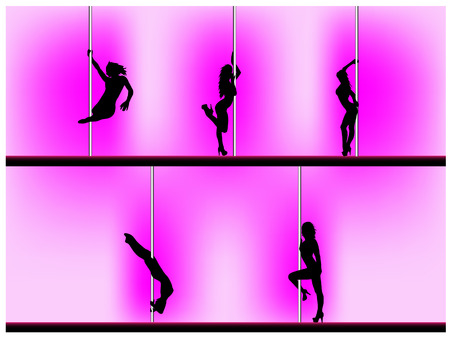 Vector 8 of 5 pole dancers silhouettes with sexy poses. Background can be easily removed. Each element on separate layers.