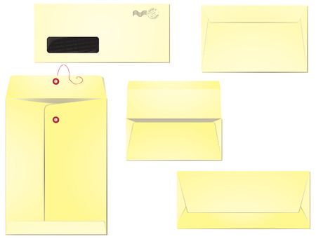 Five different types of envelopes for business correspondence and mailing. Layers clearly organised so the editing is simplified. 8, radial gradients used. Vector