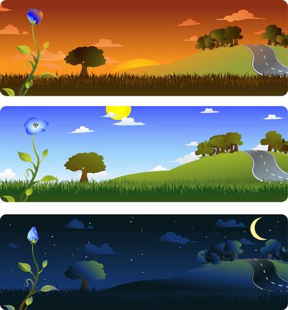 afternoon: Marcos que representa la evoluci�n de una flor al amanecer, por la tarde y noche. Cada fotograma en capas separadas, f�cilmente editables. Vector de 8. Degradados lineales y radiales usados.