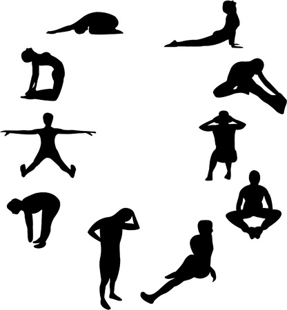 Set of 10 silhouettes of people doing gym exercises, stretching etc. Vector