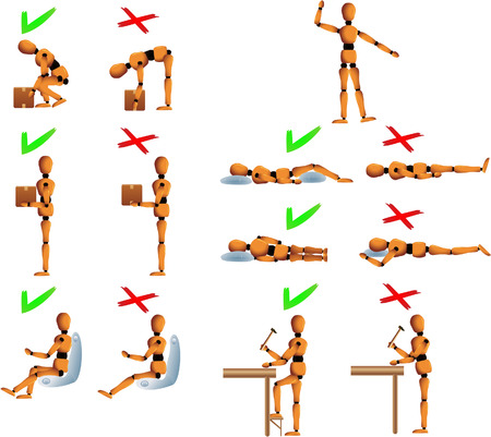 don't: Several position with dos and dont for the back and spine care. Woody the mannequin explains it using examples. It explains how to carry objects, drive, work and sleep in order to avoid back problems. Linear and radial gradients used. Woodys arms, legs