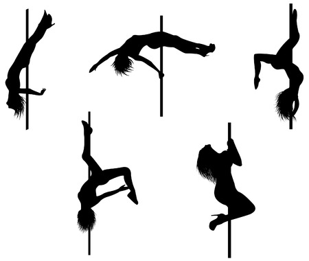 Vector 8 of 5 pole dancers silhouettes with sexy poses. Background can be easily removed. Each element on separate layers. Stock Vector - 5277364