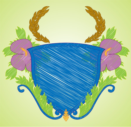 Sketch like illustration of a shield with flourishes. Radial background can be easily removed. All elements in illustration are isolated on separate layers. 8. Illustration