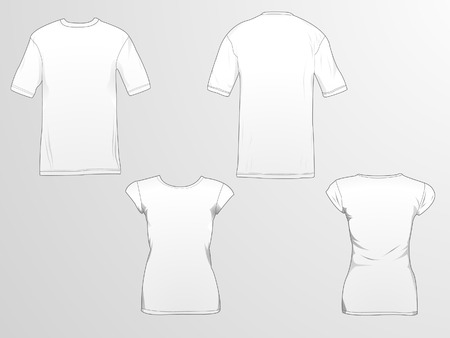 T-shirt templatemockup for designs in vector format. Colors and gradients are easily modified, shadows can be hidden, each t-shirt on a separate layer with a sublayer where you may place your own design. Illustration
