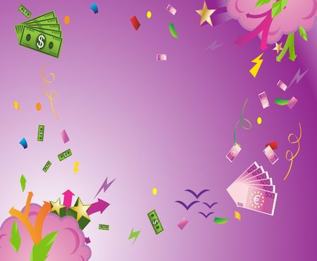 Abstract illustration of US dollars and Euros bills exploding as in a party.