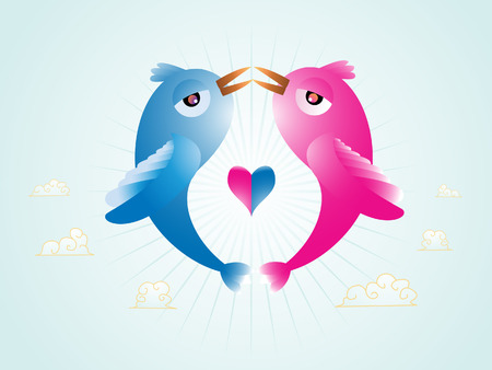 Abstract illustration of vector Birds in love with an heart in the middle. Linear and radial gradients only. Illustration