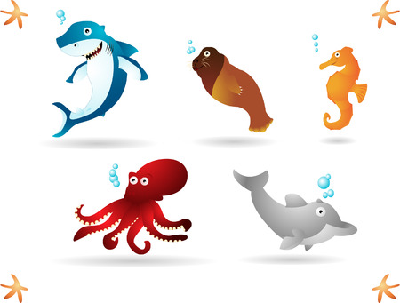 Happy animals living in the ocean. Simple radial and linear gradients used.