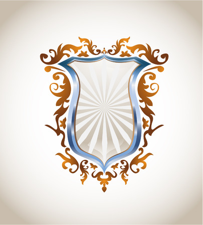 Blue metal and bronze shield, all elements on separate layers and easily editable. Linear and radial gradients Illustration