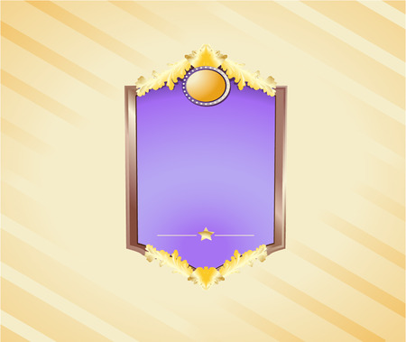 Gold and wooden shield with a wide blank space for your own text or illustration. Linear and Radial gradients.