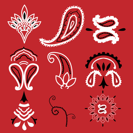 Nine elements commonly used for a bandanna, no gradients used, plain colors. Easily editable. 8. Stock Vector - 5409105