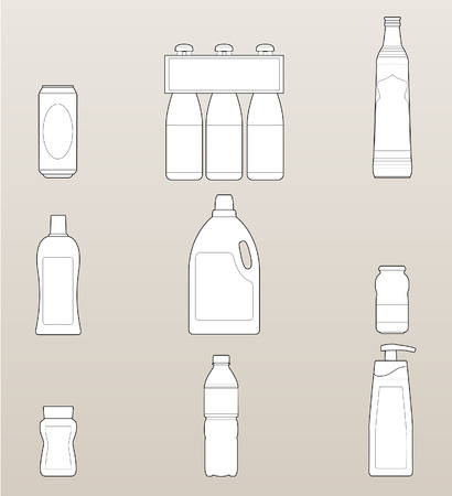 Set of several bottle and container (metal, glass or plastic) of beer, water, juice and other drinks or liquids, all elements separated and easily editable with copyspace. 8.