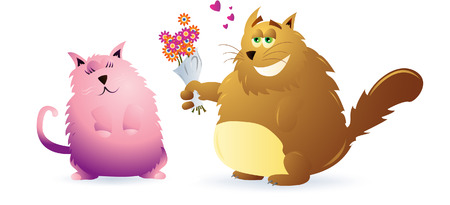 Vector illustration of a two fat cat, the male offering flowers to the female. Linear and radial gradients used. 8.