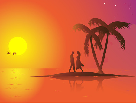 A lonely couple in love on a small island. The sun is down and the mood is romantic. Linear and radial gradients used. 8 file easily editable.
