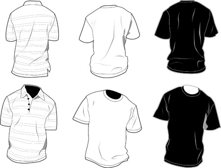 Set of polo and shirt, front and back, black and white. Shadow, seam and outline are separated, so it can be easily editable. Free space for your own art between outlines and shadows. 8.