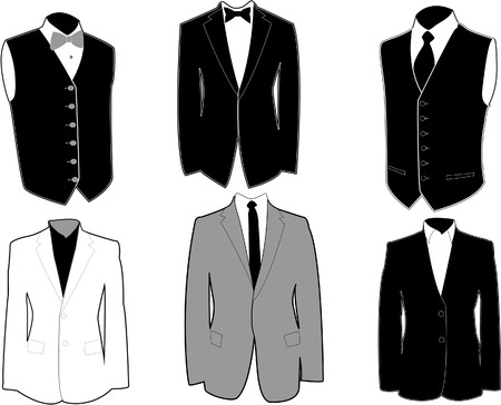Set of tuxedos in black and white, easily editable, separated on layers. 8. Vector